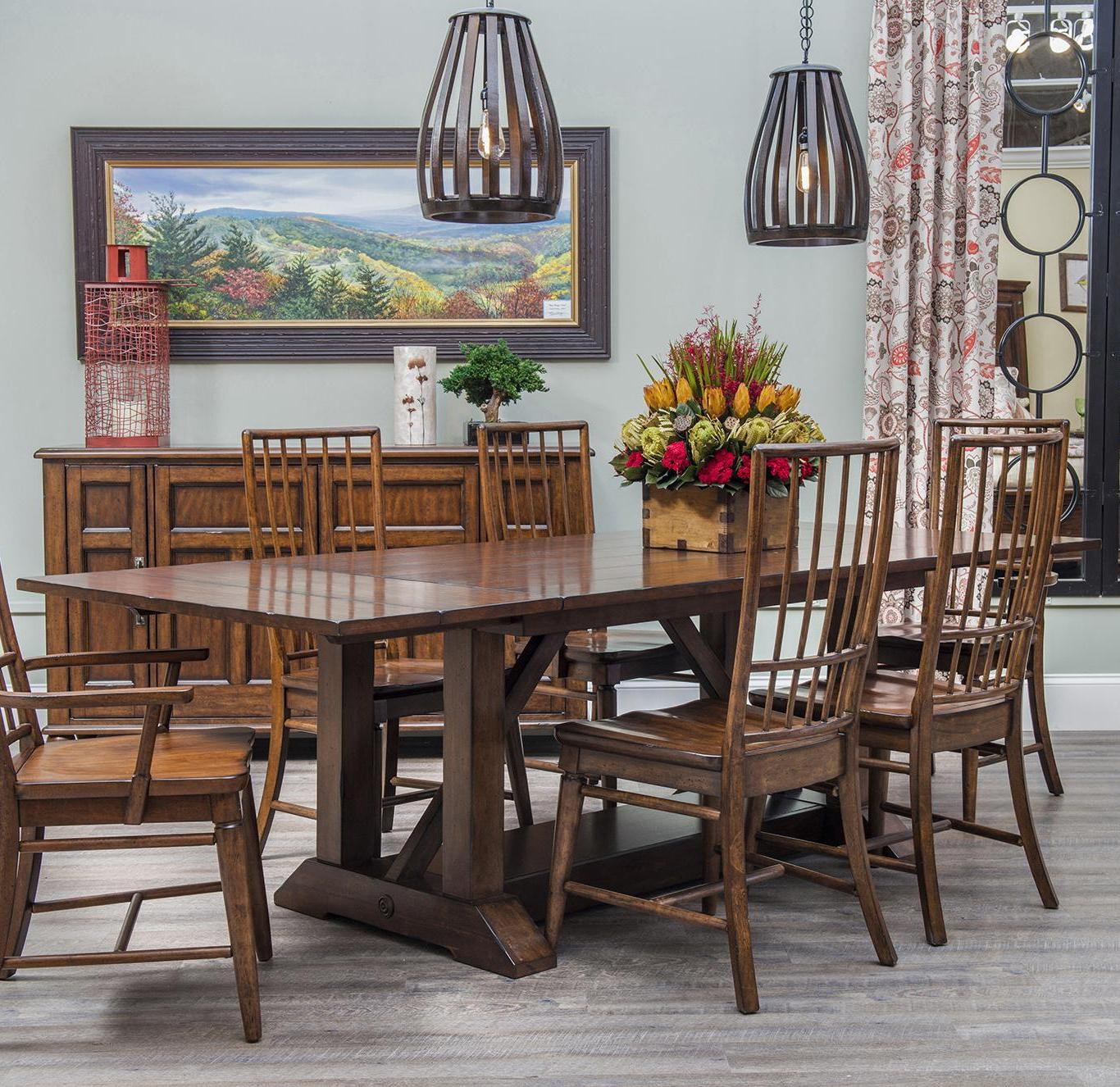 Carolina Preserves by Klaussner Blue Ridge 5 Piece Trestle Dining Table Set & Carolina Preserves by Klaussner Blue Ridge 5 Piece Trestle Dining ...