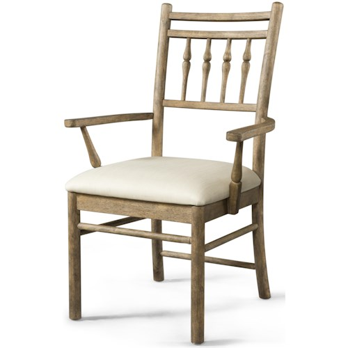 Carolina Preserves by Klaussner Riverbank Dining Room Arm Chair with Upholstered Seat