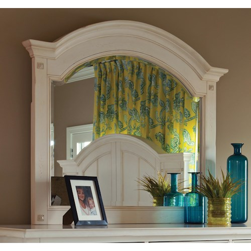 Easton Collection Sea Breeze White Panel Mirror with Bolt Covers