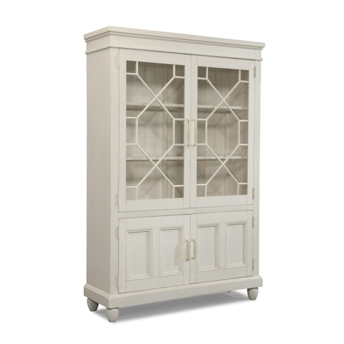 Easton Collection Sea Breeze Blossom-White Curio Cabinet with Built-in Lighting