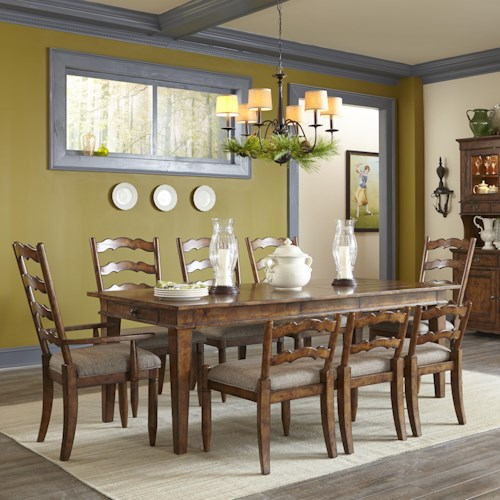 Easton Collection Farmhouse Table Set with Chairs and Bench