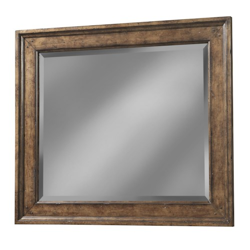 Easton Collection Farmhouse Landscape Mirror with Wood Frame and Beveled Glass