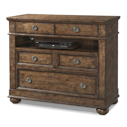 Easton Collection Farmhouse Bluff Media 4 Drawer Chest