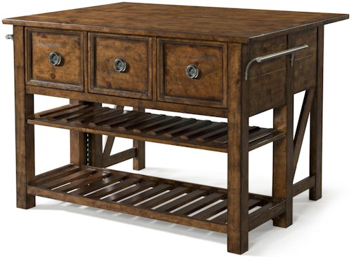 Carolina Preserves by Klaussner Southern Pines Loblolly Kitchen Island with 3 Drawers