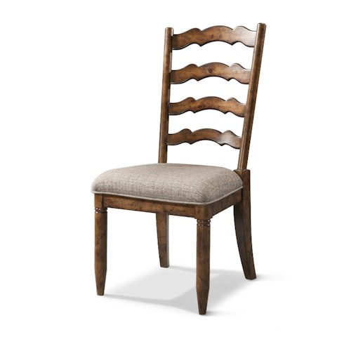 Easton Collection Farmhouse Ladderback Side Chair with Upholstered Seat