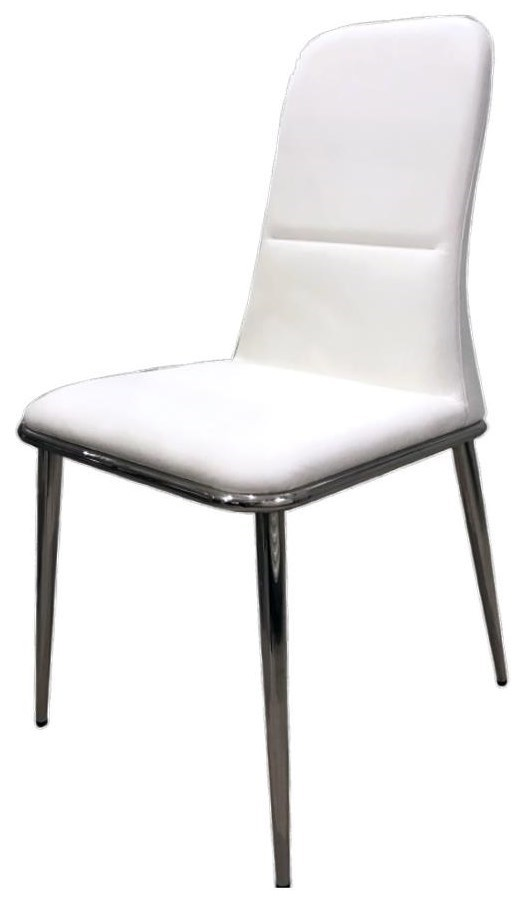 White Leather Side Chair with Stainless Steel Base