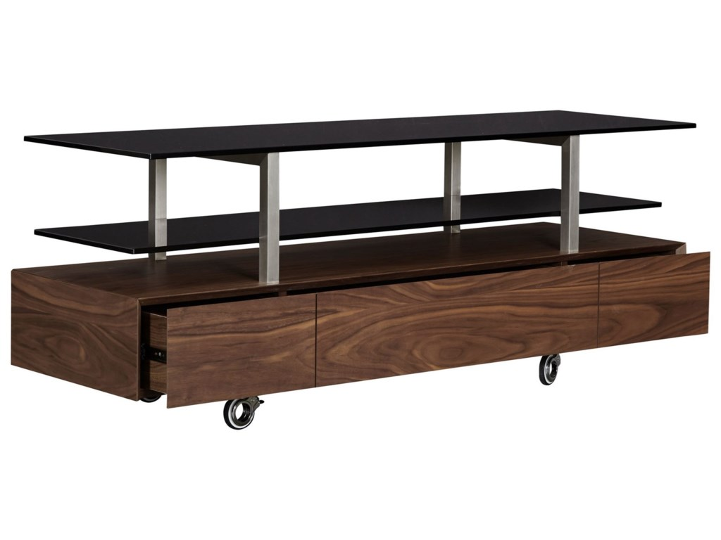 Casana BannatyneGlass Top TV Console with Casters