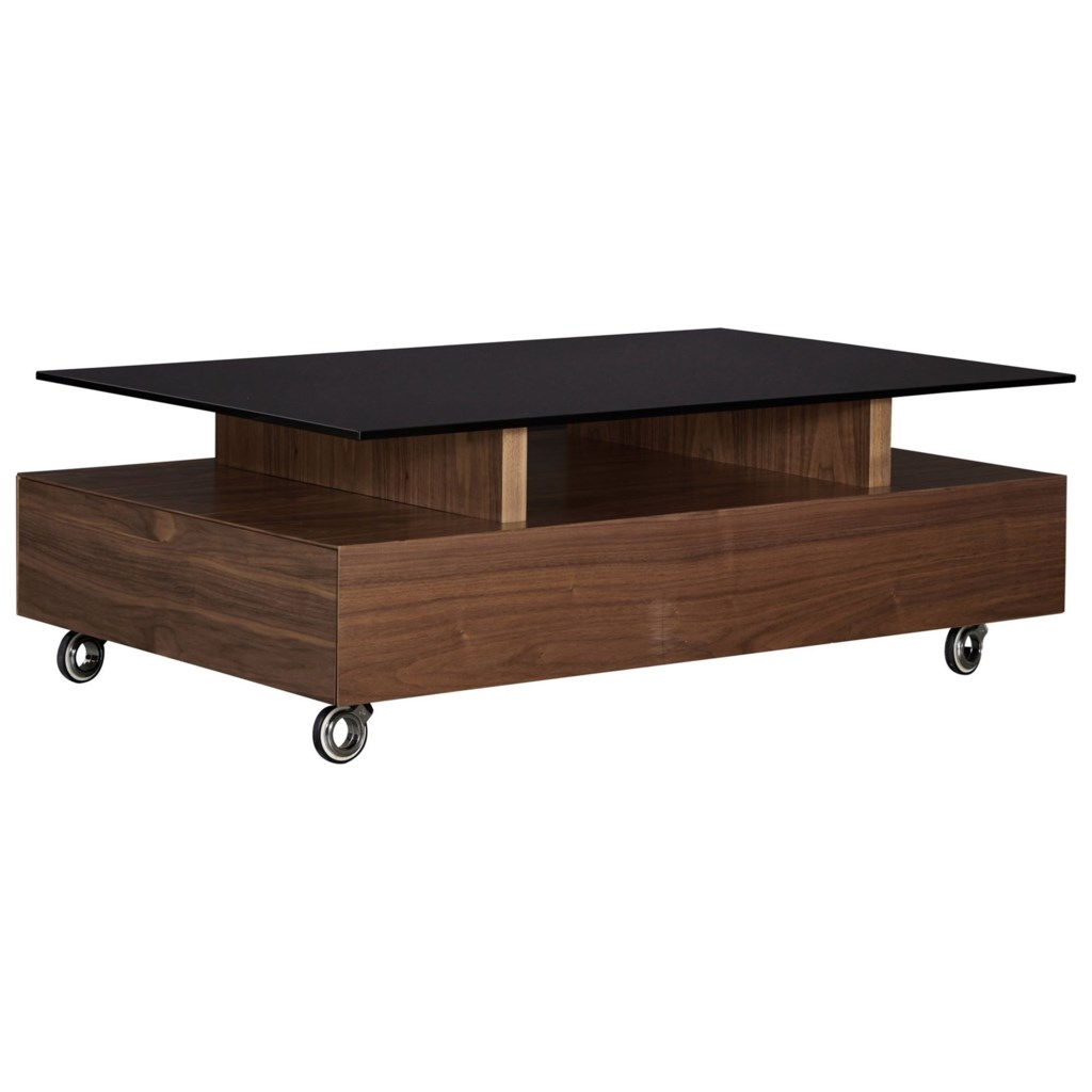 Casana Bannatyne Glass Top Cocktail Table With Casters Stoney