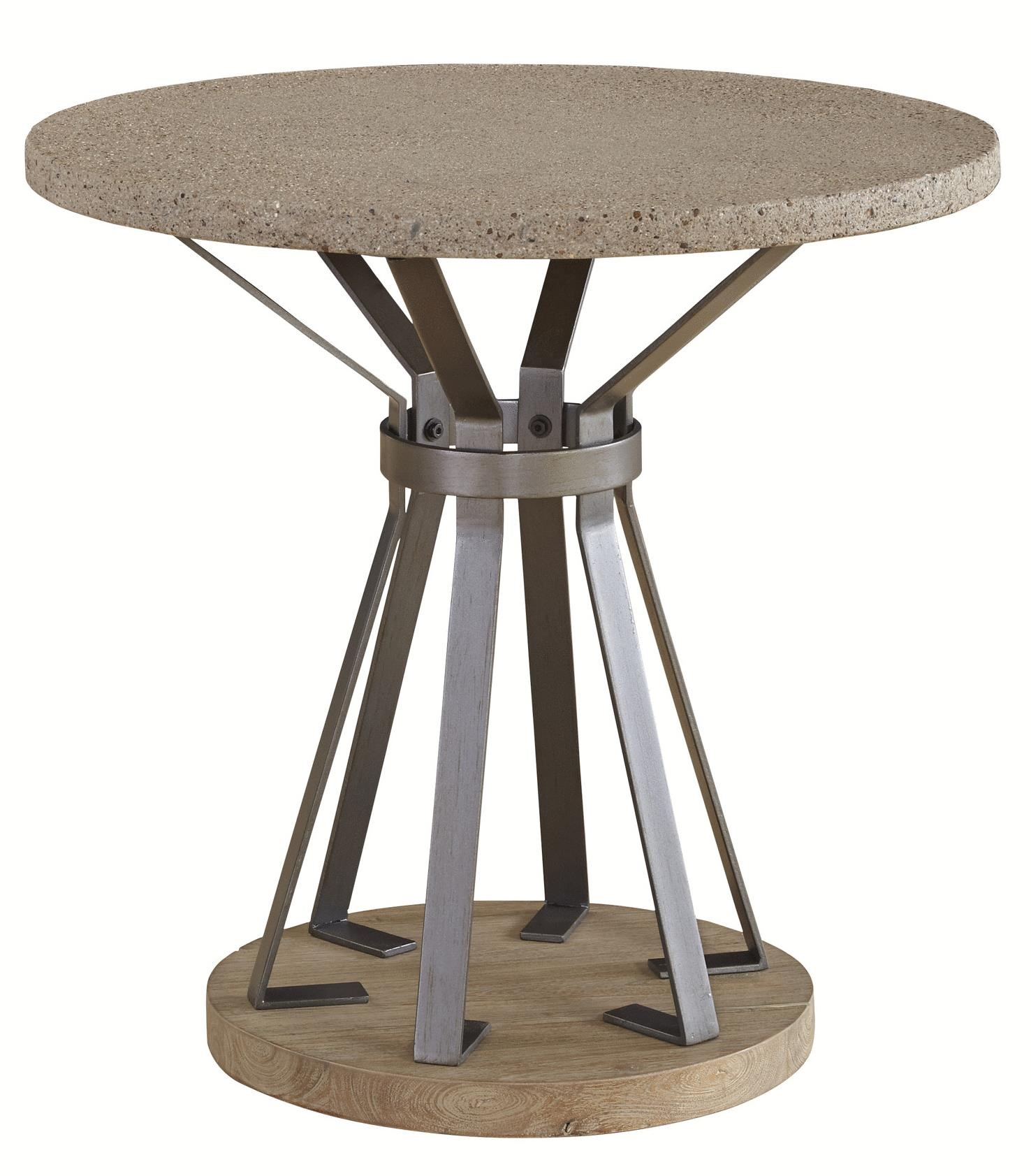 Casana Hamlin Round End Table With Concrete Top