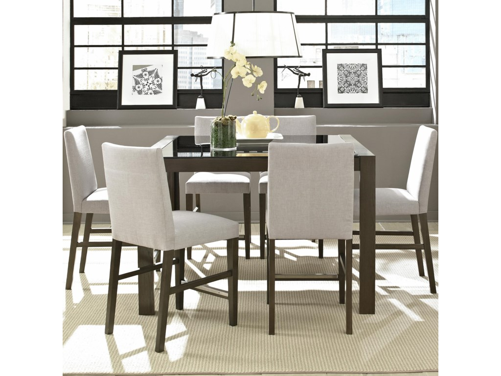 Montreal Cafe Table With Glass Top And 6 Chair Set By Casana