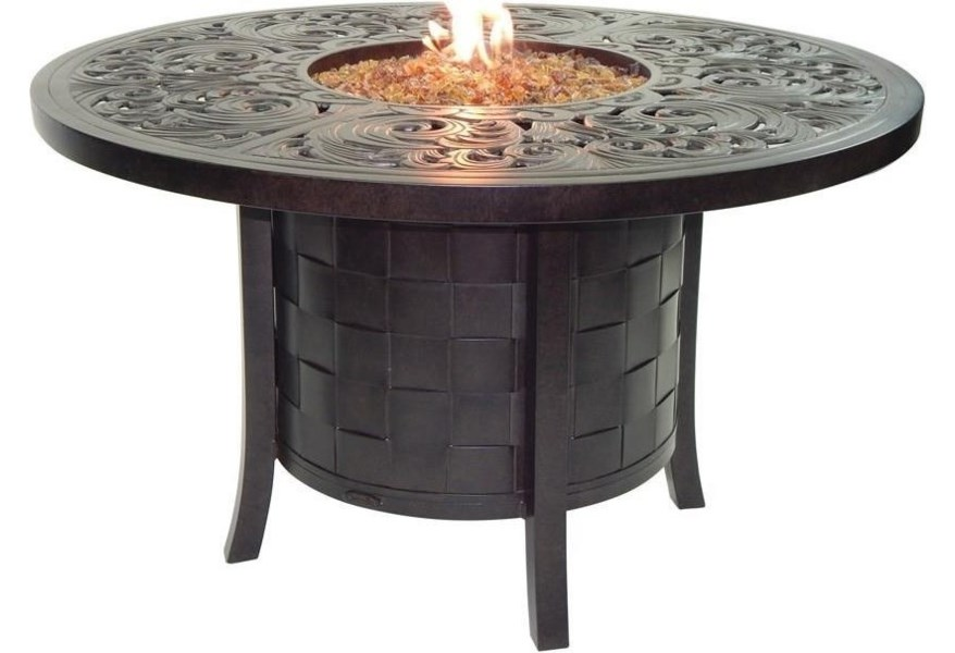Castelle By Pride Family Brands Classical Firepits Vdf48wl 49 Round Dining Table With Firepit And Lid Baer S Furniture Outdoor Fire Pits