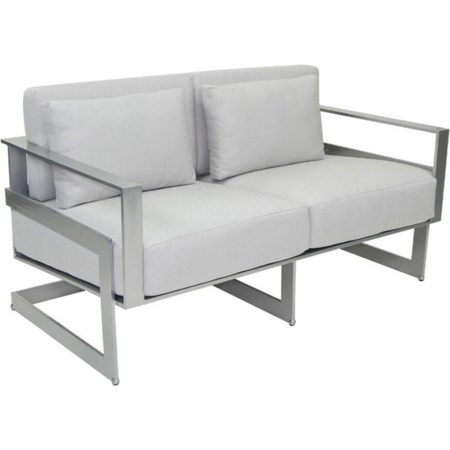 Cushioned Loveseat w/ Two Pillows