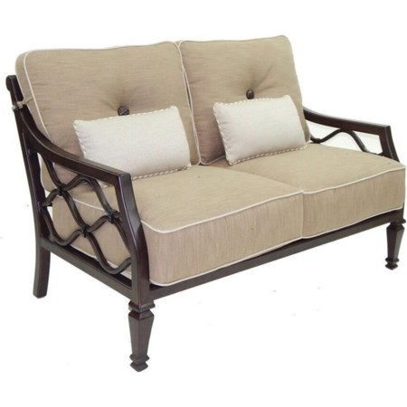 Cushioned Loveseat w/ Two Kidney Pillows