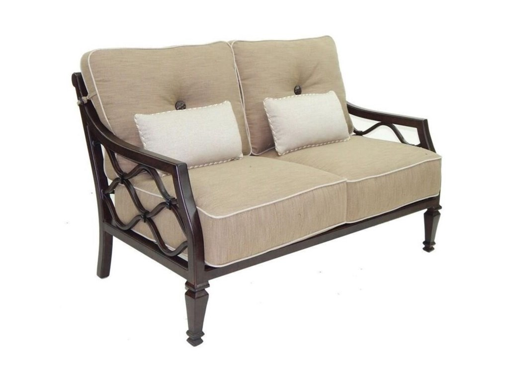 Castelle by Pride Family Brands Villa BiancaCushioned Loveseat w/ Two Kidney Pillows