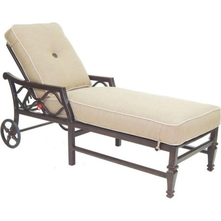 Adjustable Cushioned Chaise Lounge w/ Wheels