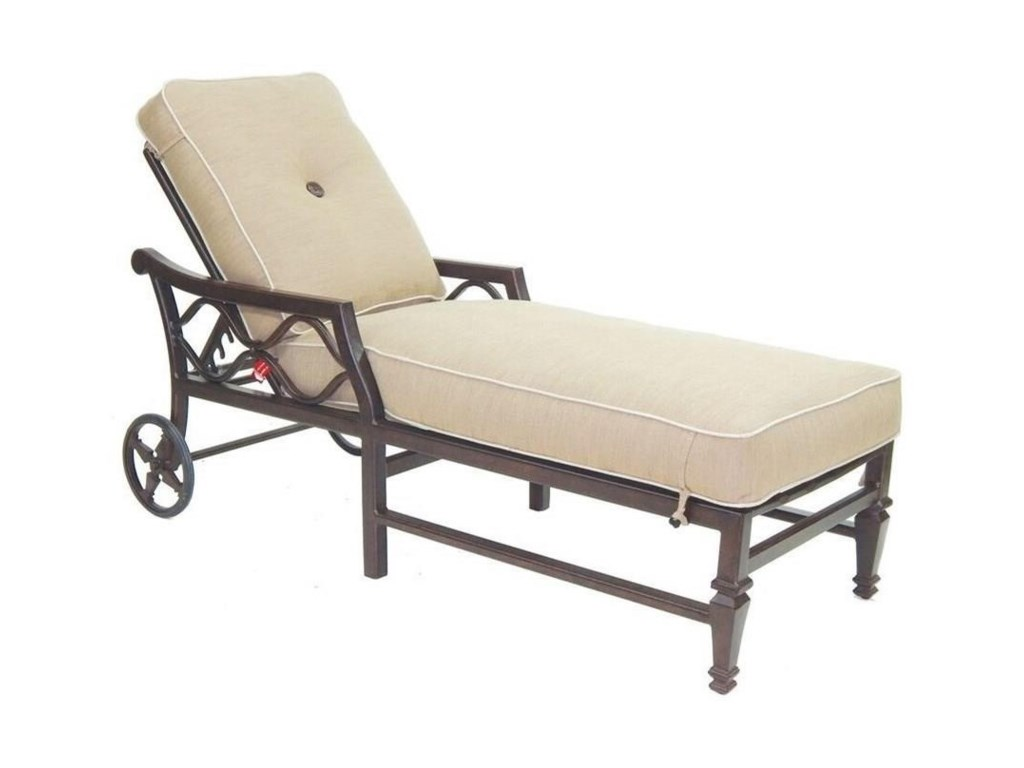 Castelle by Pride Family Brands Villa BiancaAdjustable Cushioned Chaise Lounge w/ Wheels