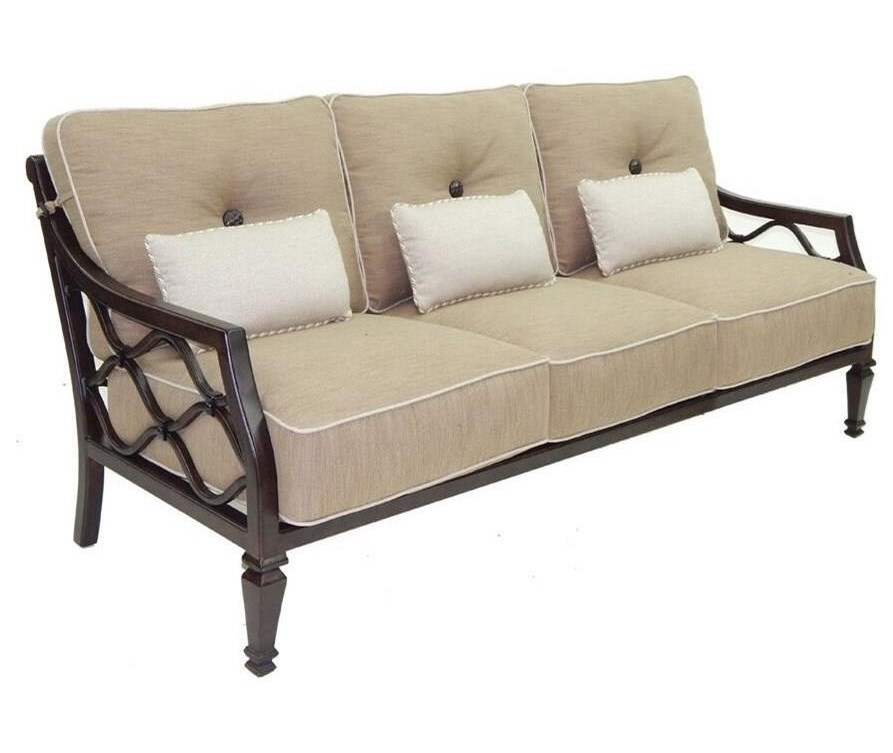 Castelle by Pride Family Brands Villa BiancaCushioned Sofa w/ Three Kidney Pillows