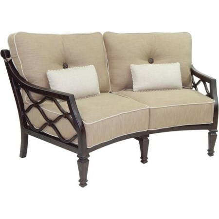 Cushioned Crescent Loveseat w/ Two Kidney Pi