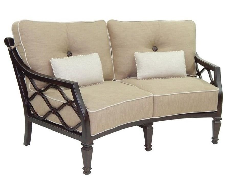 Castelle by Pride Family Brands Villa BiancaCushioned Crescent Loveseat w/ Two Kidney Pi