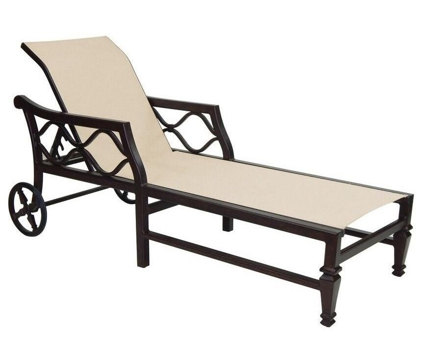 Castelle by Pride Family Brands Villa BiancaAdjustable Sling Chaise Lounge w/ Wheels