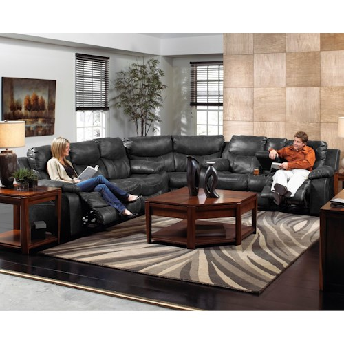 Catnapper  Catalina Casual Three Piece Reclining Sectional Sofa with Cupholder Storage Console