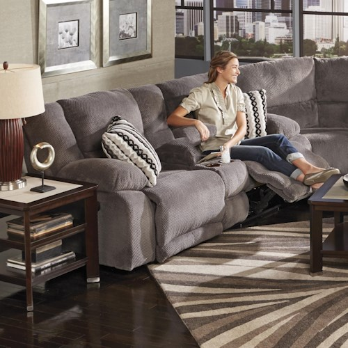 Catnapper Hammond Reclining Console Loveseat with Storage and Cupholders