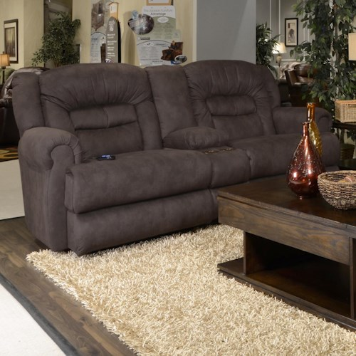 Catnapper Atlas Reclining Console Loveseat with Storage and Cupholders