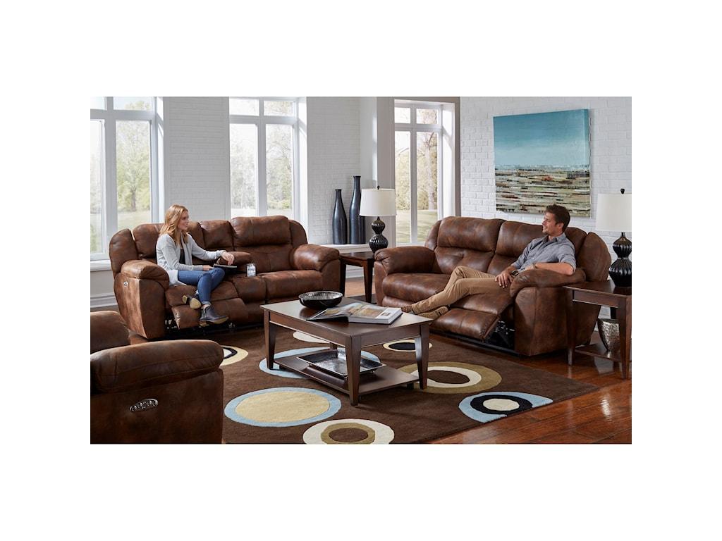 Catnapper FerringtonPwr Headrest Lay-Flat Reclining Console Sofa