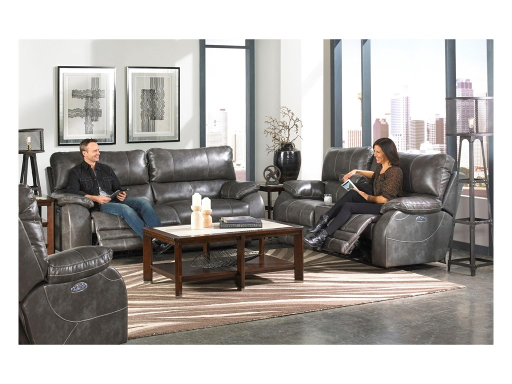 Catnapper SheridanPower Lay-Flat Console Loveseat
