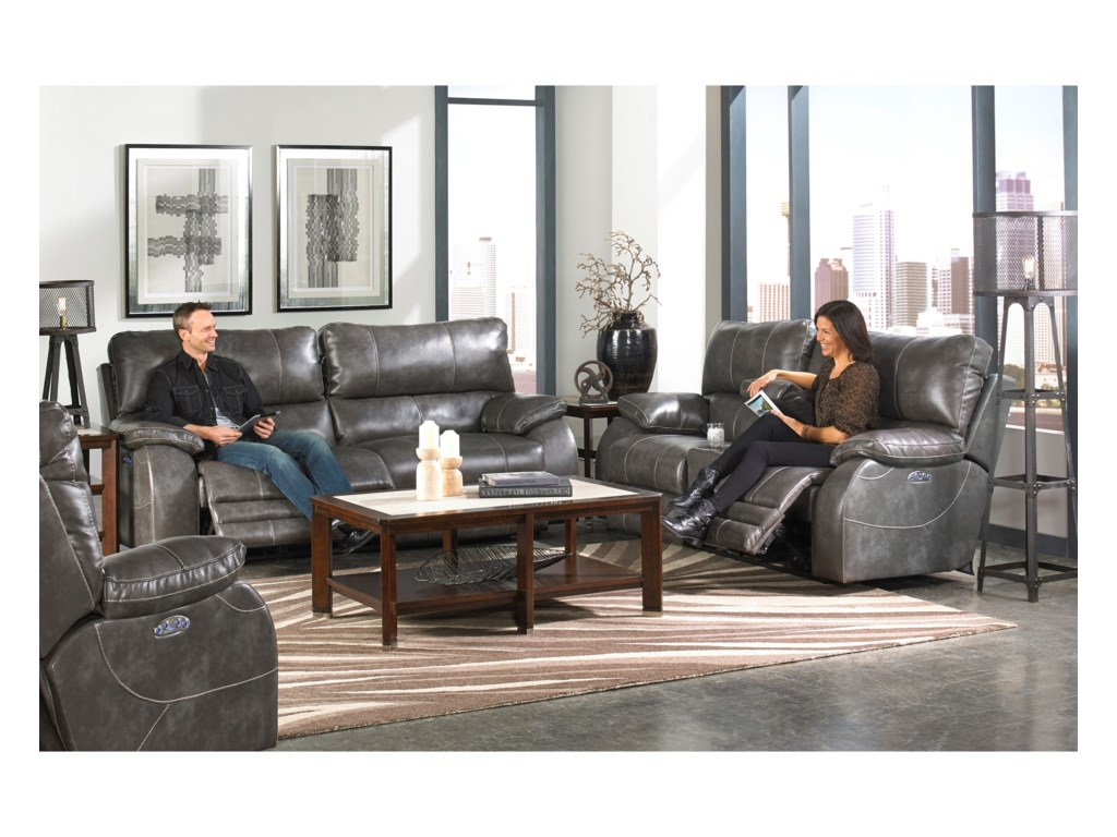 Catnapper Reclining CollectionPower Headrest Power Lay Flat Reclining Sofa