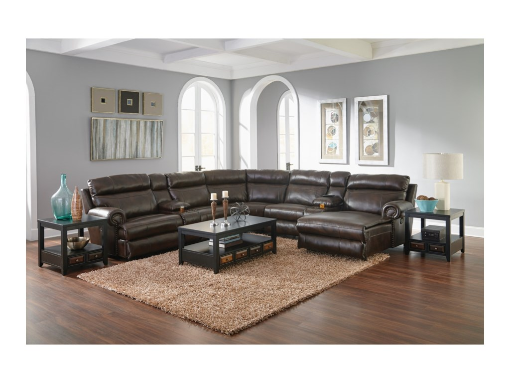 Catnapper Ashton Reclining Sectional Sofa With 5 Seats Adcock