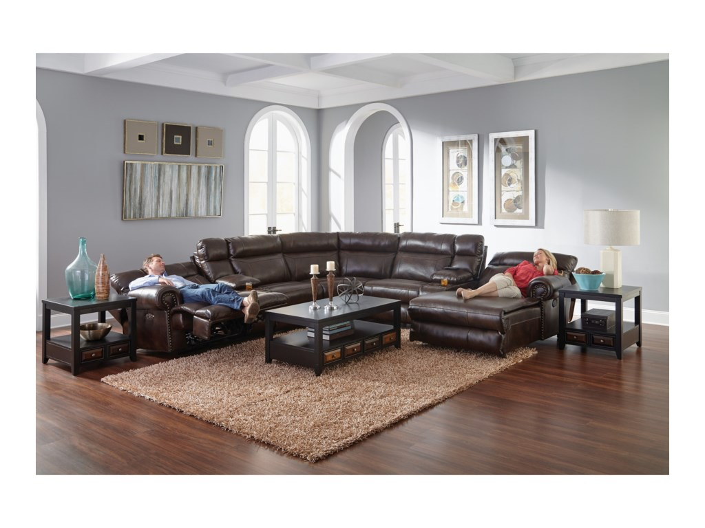Catnapper AshtonReclining Sectional Sofa with 5 Seats