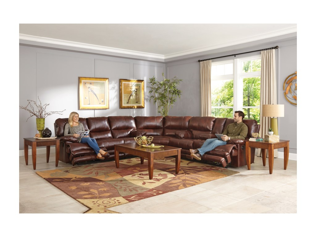 Catner Austin Casual Reclining Sectional With Storage