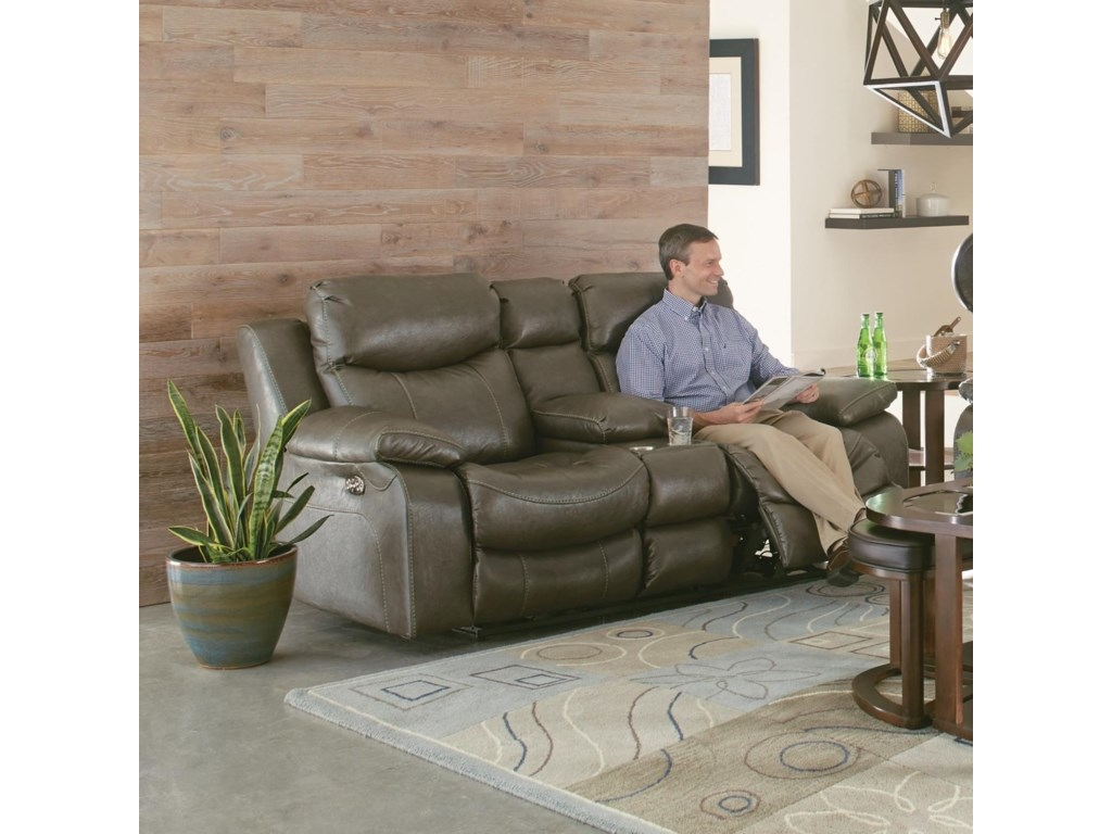 Catnapper ConnorLay Flat Power Reclining Console Loveseat