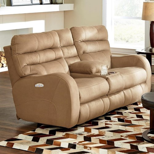 Catnapper Kelsey Contemporary Power Lay Flay Reclining Console Loveseat with Power Headrest and Lumbar