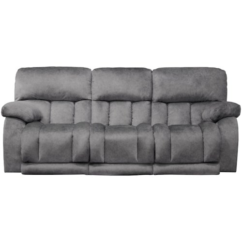 Catner Kendall Casual Lay Flat Reclining Sofa With Headrests And Drop Down Table