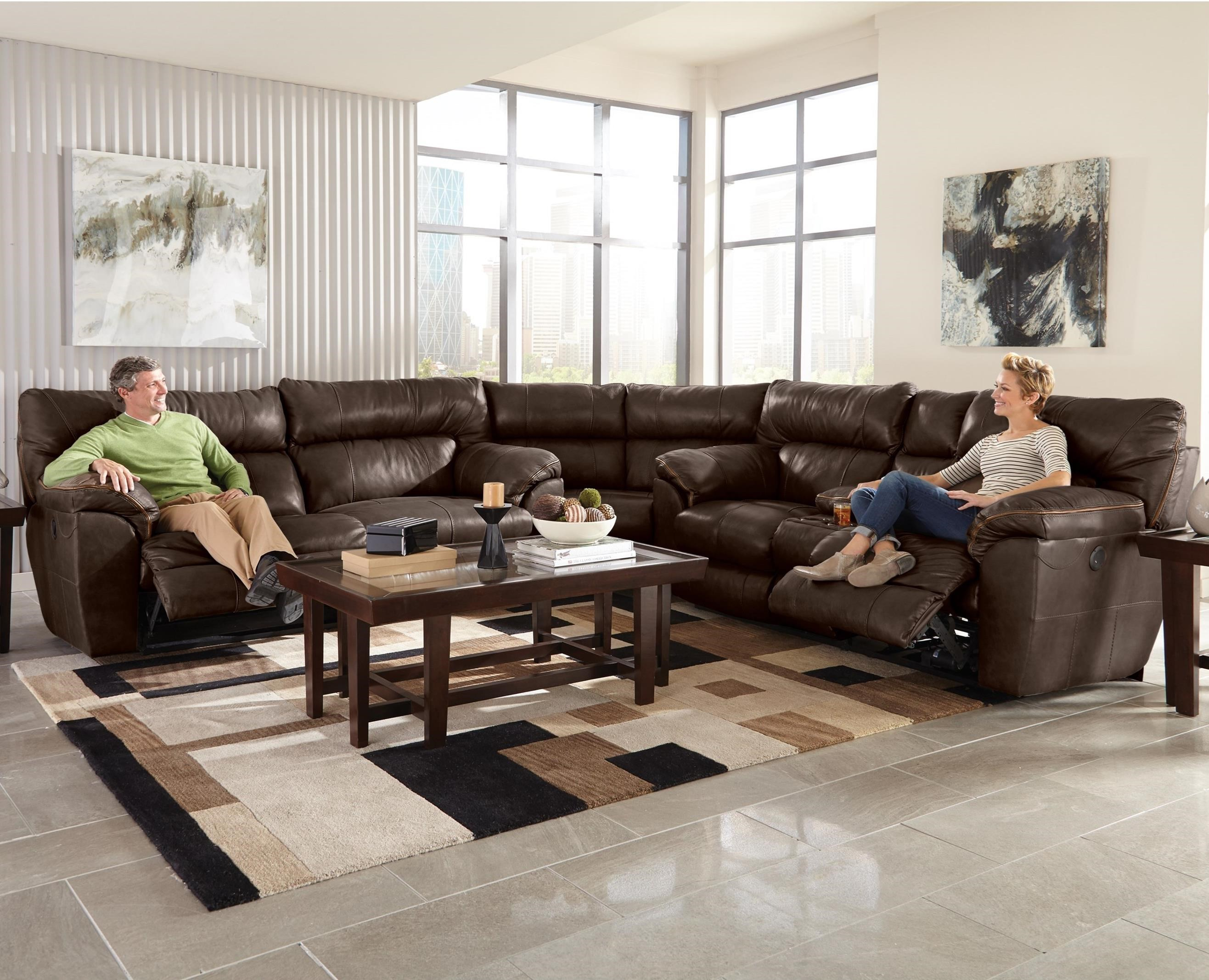 Catnapper Milan Three Piece Leather Power Lay Flat Reclining Sectional Sofa  With Cupholder Storage Console