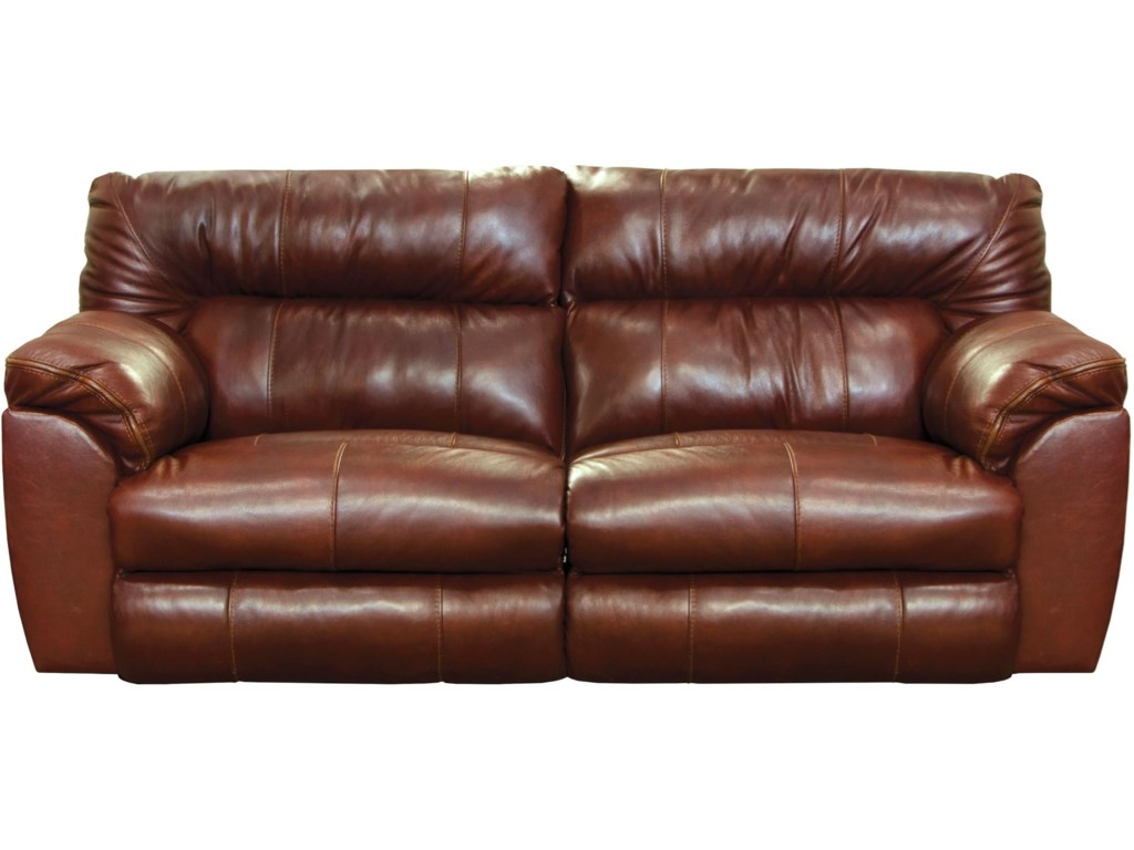 Milan Casual Leather Lay Flat Reclining Sofa by Catnapper at Turk Furniture