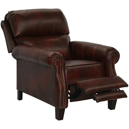 Catnapper Motion Chairs and Recliners Frazier High Leg Recliner with Extended Ottoman in Traditional Den Room Style