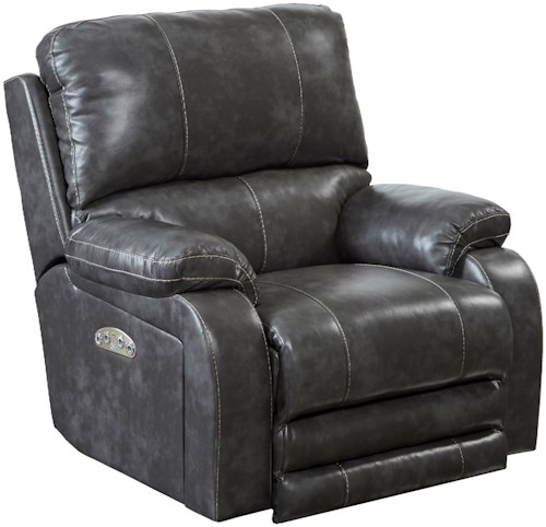 Catnapper Motion Chairs and Recliners Thornton Power Lay Flat Recliner with Power Headrest and Lumbar Support