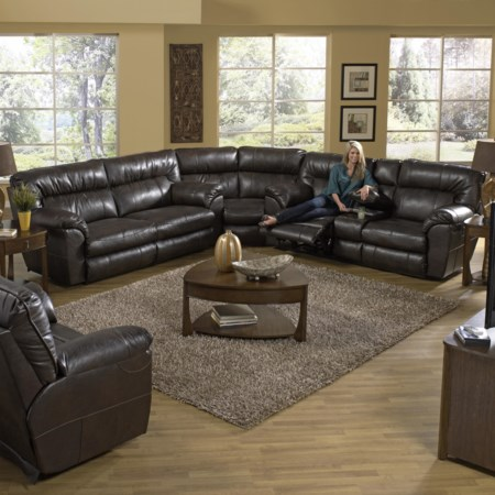 Reclining Sectional Sofa with Right Console