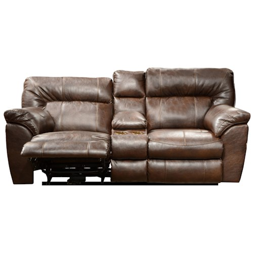 Catnapper Nolan Power Extra Wide Reclining Console Loveseat With Storage And Cup Holders