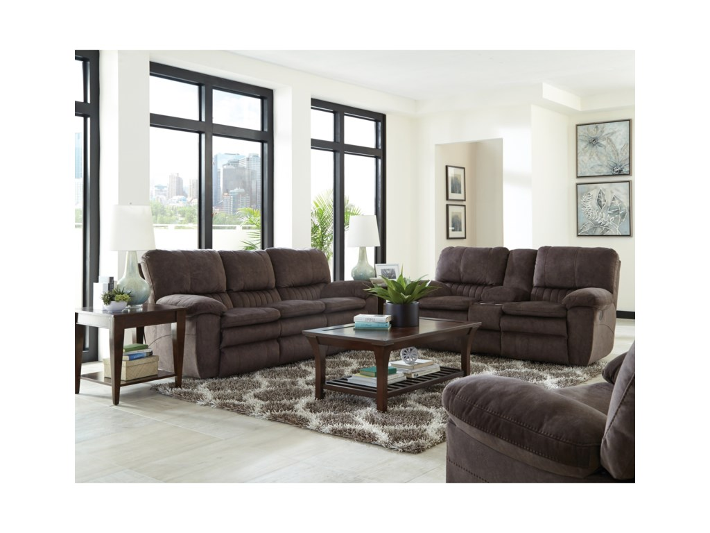 Catnapper ReyesPower Lay Flat Reclining Console Loveseat