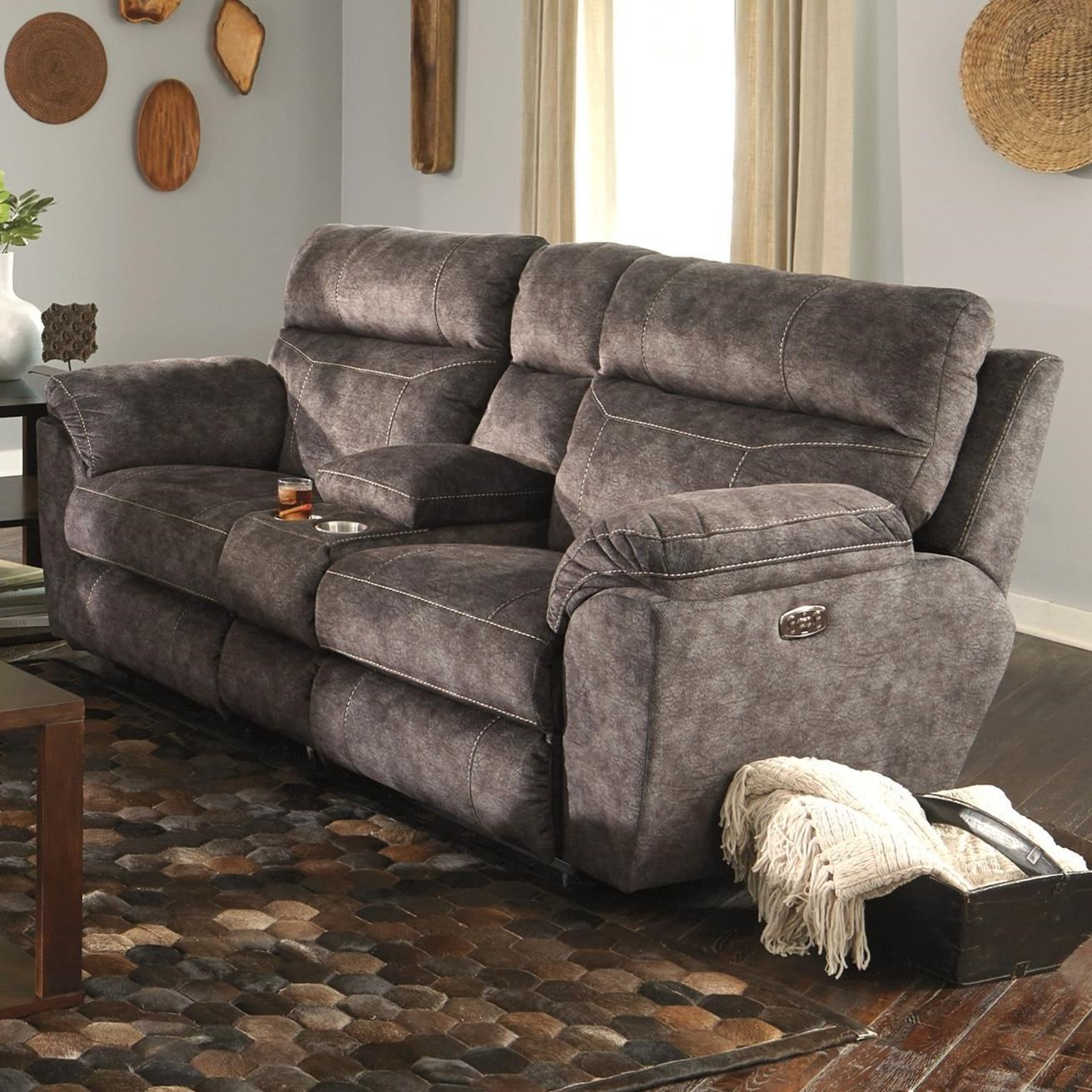 Power Lay Flat Reclining Console Loveseat with Power Headrests
