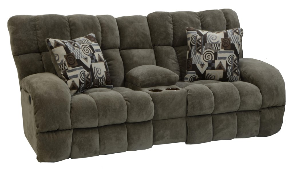 Catnapper Bryce 1769 Lay Flat Reclining Console Loveseat With Wide