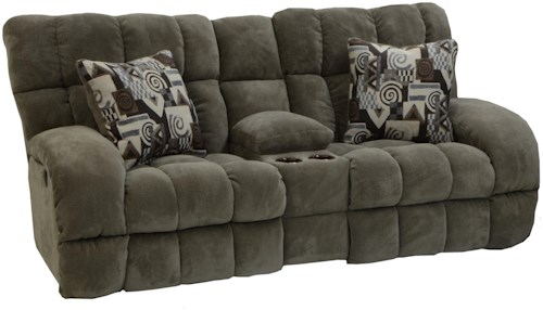 Catnapper Siesta  Lay Flat Reclining Console Loveseat with Wide Seats