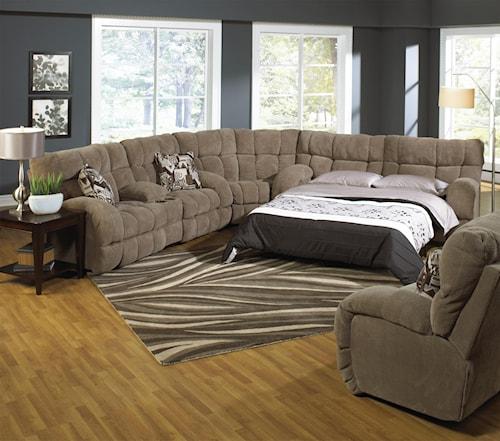 Catnapper Siesta Reclining Sectional Sofa with Sofa Sleeper