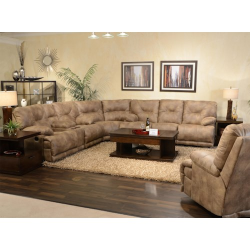 Catnapper Voyager Power 6 Seat Lay Flat Reclining Sectional