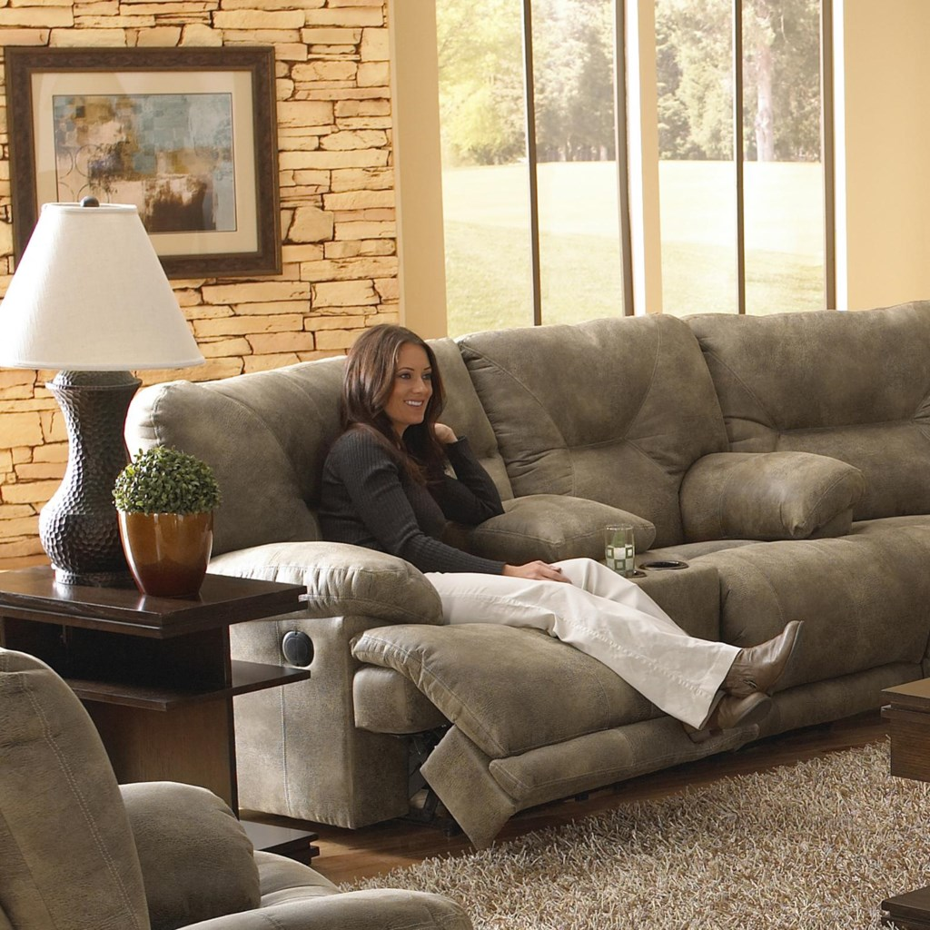 Catnapper Voyager 2 Seat Lay Flat Reclining Console Love Seat With
