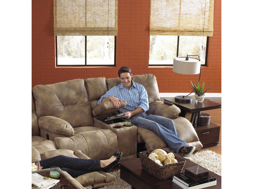 Catnapper VoyagerPower Lay Flat Reclining Console Loveseat